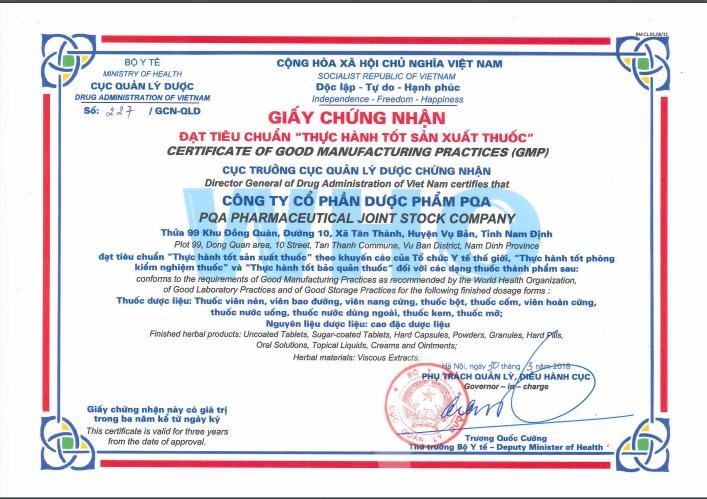 chứng nhận PQA thực hành sản xuất thuốc tốt